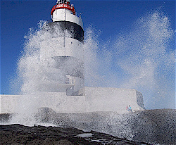Hook Lighthouse in storm